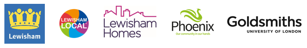 Lewisham logo, Lewisham Local logo, Lewisham Homes logo, Phoenix logo and Goldsmiths University of London logo