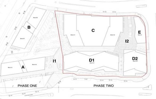 Detailed site plan of Lewisham Gateway scheme outlining phases one and two.