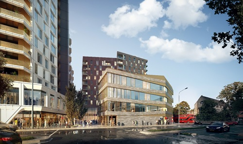 An architectural visualisation of the Lewisham Gateway phase two development once completed.